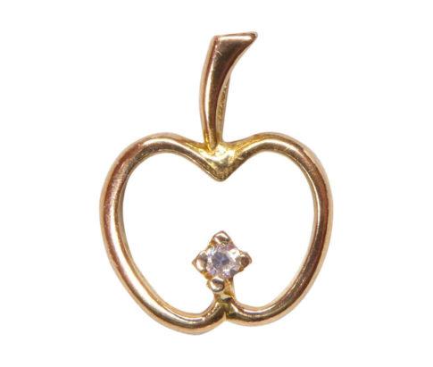 Gouden appel hanger met diamant
