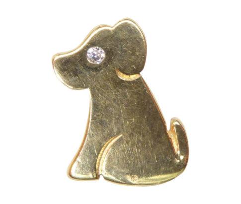 Gouden hond hanger met diamant