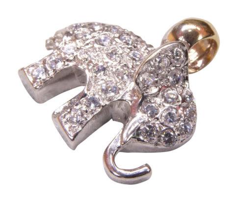 Gouden olifant hanger met zirkonia
