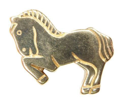 Gouden plat paard hanger