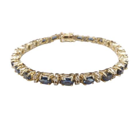 14 karaat armband diamant en saffier