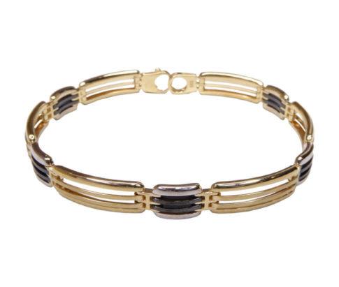 14 karaat bicolor armband met onyx