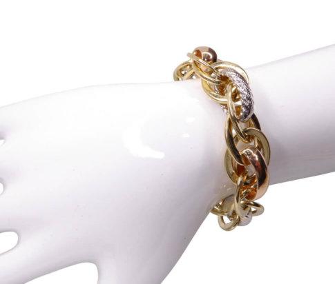 Gouden tricolor schakelarmband