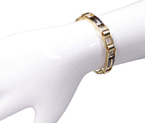 Massieve bicolor armband met keramiek