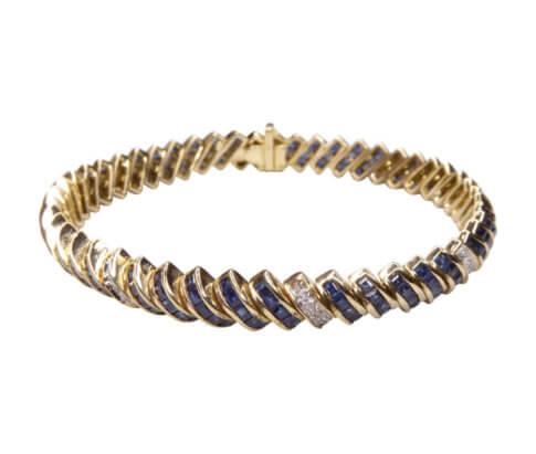 14 karaat gouden armband diamant en saffier