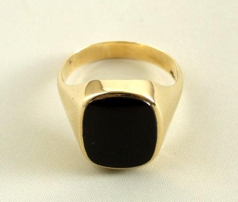 14 karaat gouden zegelring met onyx