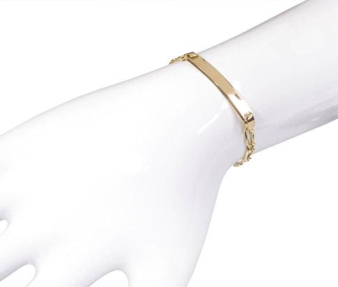 Gouden kind naam plaat armband
