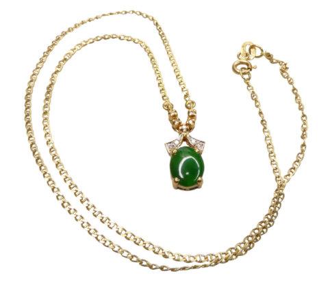 18 karaat gouden collier met jade en diamant