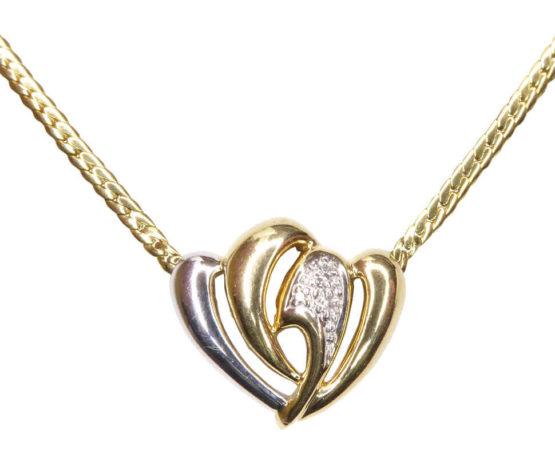 Gouden collier met diamant hart hanger
