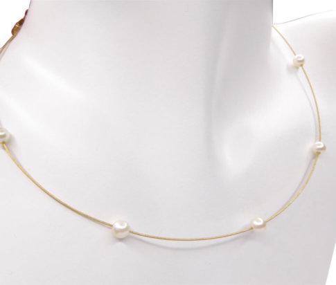Gouden collier met parels