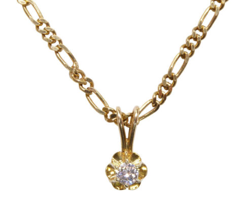 Gouden ketting met diamant hanger