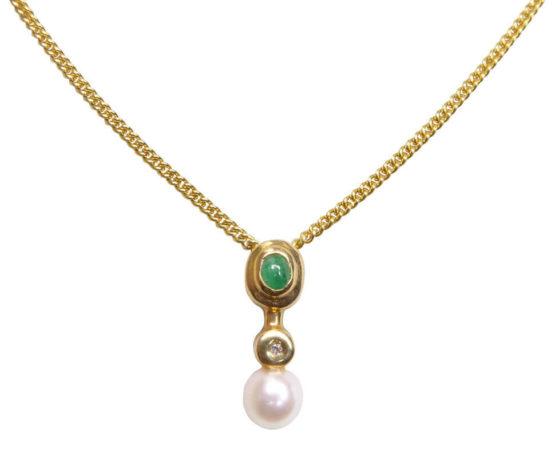 Gouden ketting met parel en smaragd hanger