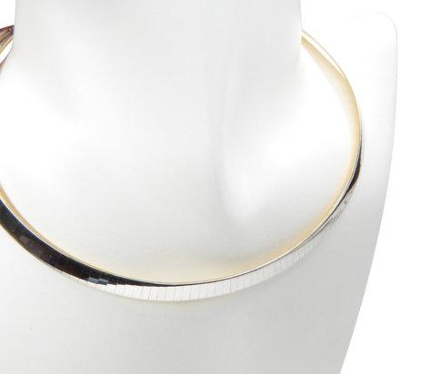 Bicolor gouden omega collier plat