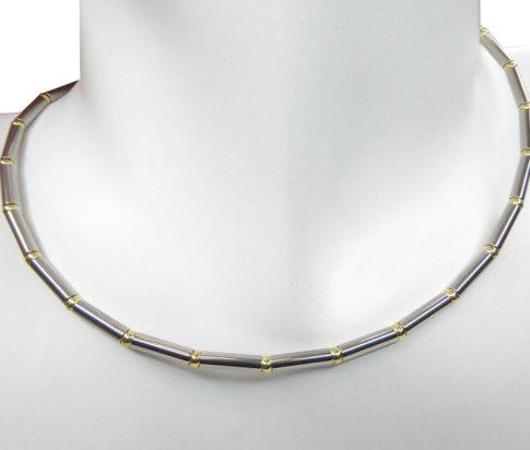 Bicolor gouden spang collier