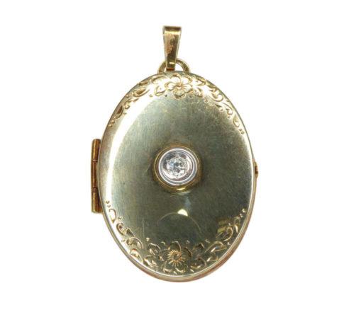 14 karaat gouden medaillon met zirkonia