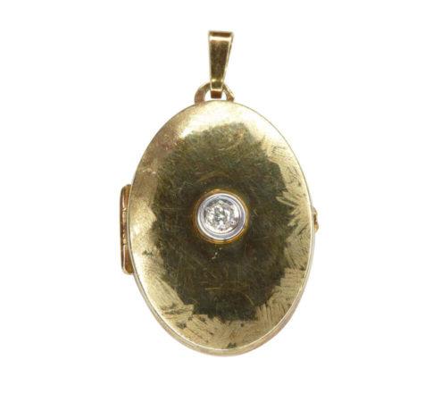 14 karaat gouden medallion met zirkonia