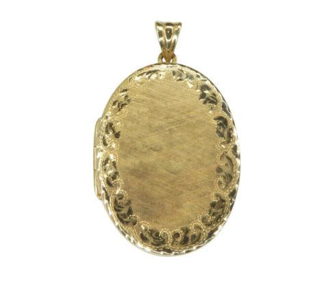 Geel gouden medaillon met lijn motief