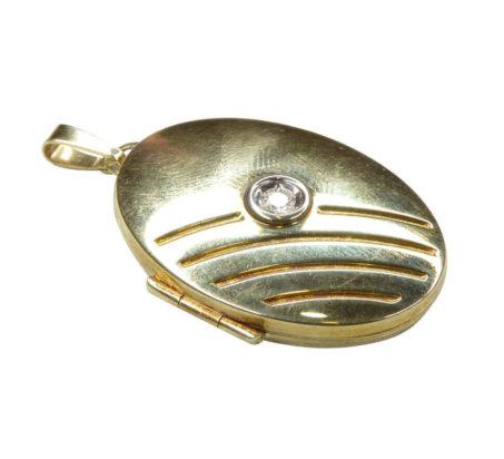 Geel gouden medallion met zirkonia