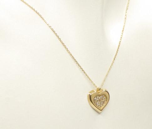 Geel gouden ketting met hart hanger