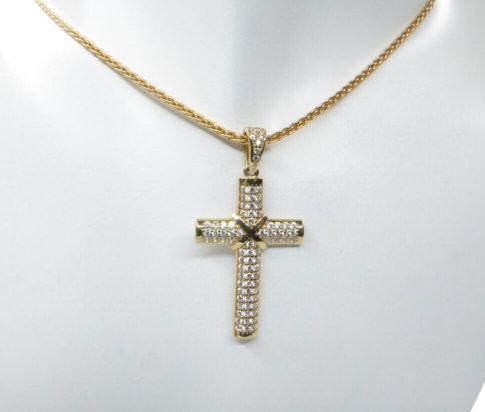 14 karaat geel gouden zirkonia kruis