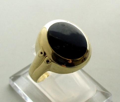 Christian 14 karaat gouden ring met onyx