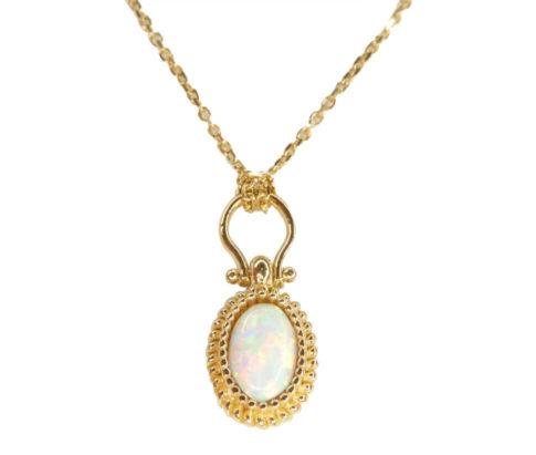 Geel gouden opaal hanger met ketting
