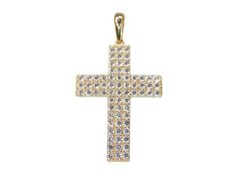 Gouden kruis met zirkonia's