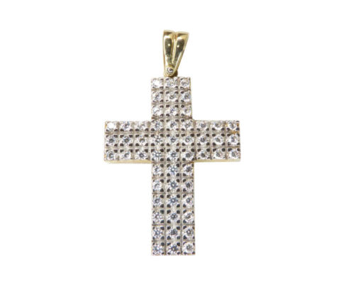 Wit en geel gouden kruis met zirkonia