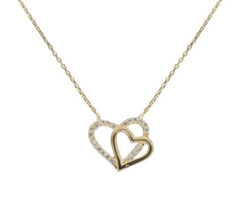 Gouden dubbele harten hangers
