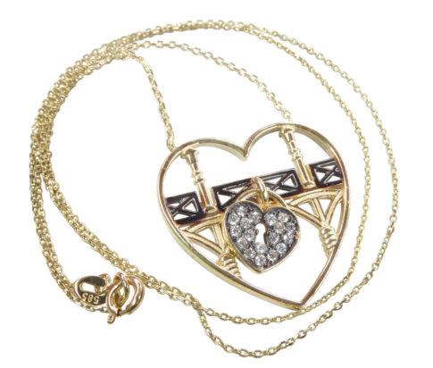 Gouden harten slot hanger