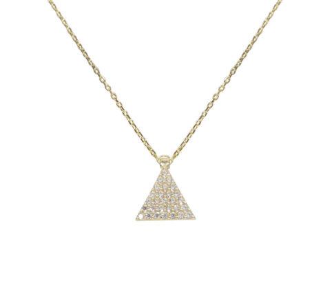 Gouden zirkonia driehoek hanger