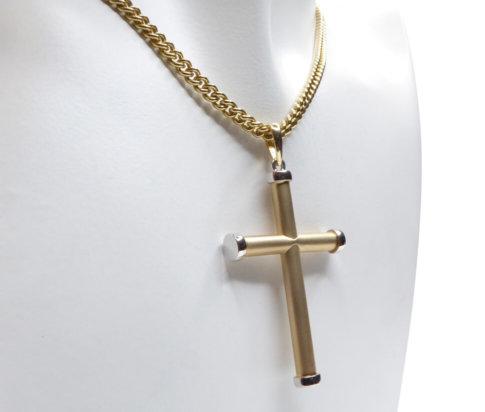 Bicolor matte gouden kruis