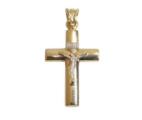 Geel en wit gouden kruis met korpus