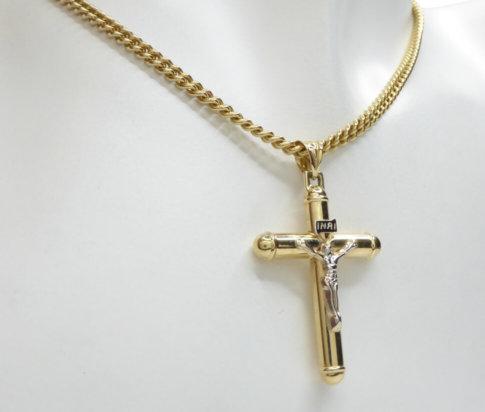 Gouden kruis met korpus hanger