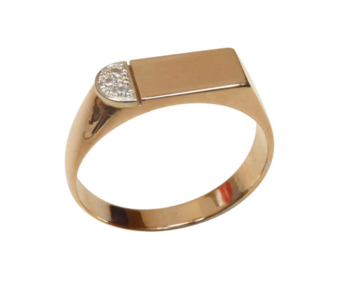 Gouden rosé cachet ring