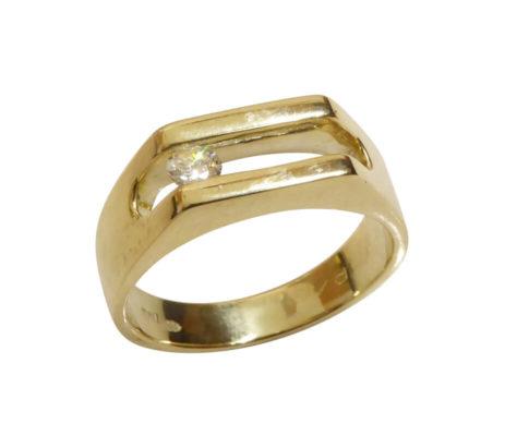 Gouden swinging diamant cachet ring