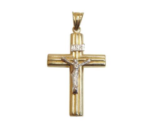 Wit en geel gouden kruis met korpus
