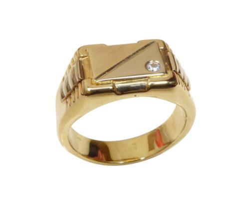 14 karaat gouden cachet ring met diamant