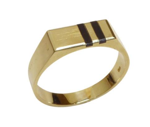 14 karaat gouden onyx zegelring