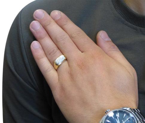 Christian bicolor gouden cachet ring met diamant