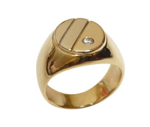 Christian wit en geel gouden cachet ring