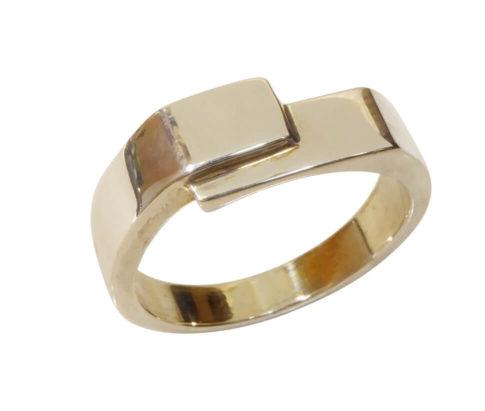 Christian wit gouden cachet ring