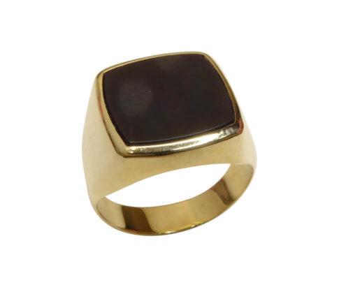 Geel gouden heren zegel ring met onyx
