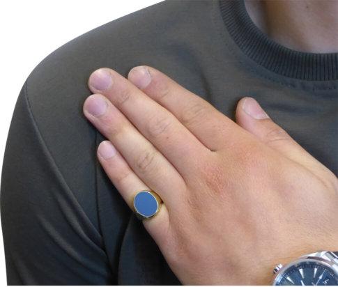 Geel gouden lagensteen cachet ring