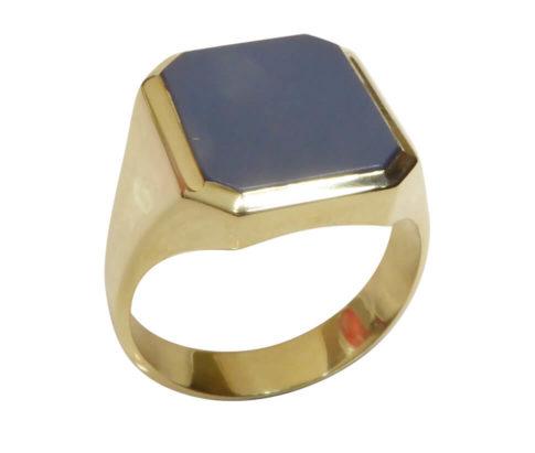 Gouden blauwe lagensteen cachet ring