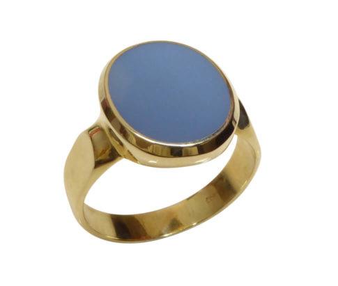 Gouden cachet ring met blauwe lagensteen
