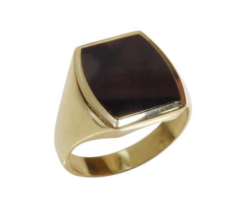 Gouden heren zegel ring met onyx