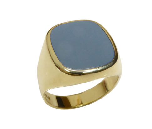 Gouden lagensteen cachet ring
