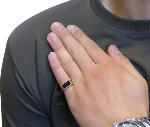 Gouden onyx cachet ring