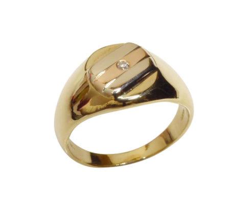 Gouden tricolor cachet ring met diamant